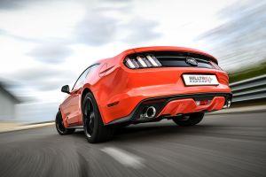 Ford Mustang 2.3 EcoBoost Sport Edelstahl Auspuffanlage mit 2x100mm Endrohrblenden in schwarz matt von Milltek Sport