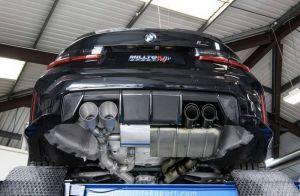 BMW M3 G80 Sport Edelstahl Auspuffanlage mit 4x Endrohrblenden in Schwarz matt von Milltek Sport