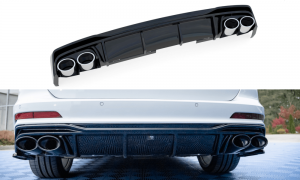 Heck Diffusor mit Endrohrblenden für Audi A6 C8 S Line von Maxton Design