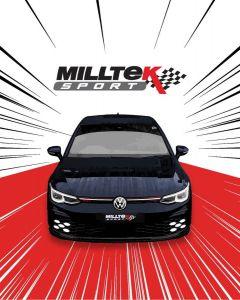 VW Golf8 GTi MK8 245ps mit OPF Sport Edelstahl Auspuffanlage mit 2x115mm Endrohrblenden in schwarz matt von Milltek Sport