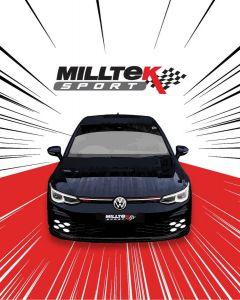 VW Golf 8 GTi Clubsport Mk8 300ps mit OPF Sport Edelstahl Auspuffanlage mit 2x115mm Endrohrblenden in schwarz matt von Milltek Sport